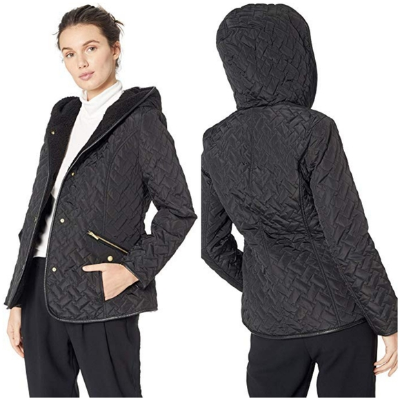COLE HAAN Quilted Hooded Jacket Lightweight